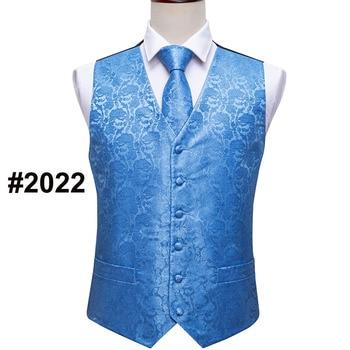 Designer Mens Classic Black Paisley Jacquard Folral Silk Waistcoat Vests Handkerchief Tie Vest Suit Pocket Square Set Barry.Wang 7
