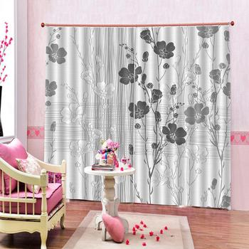 grey curtains flower Decoration curtains Customized size Luxury Blackout 3D Window Curtains For Living Room