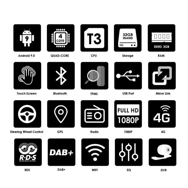 Lecteur DVD de voiture 2G RAM 1 Din   Android 9 Quad 4 Core, pour universel GPS Navigation stéréo, WIFI 4G Audio USB SWC volant de direction