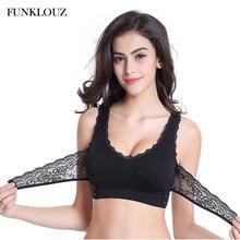 Funklouz Front Cross Side Buckle Wireless Lace Bra Breathable Sport for Women Push Up
