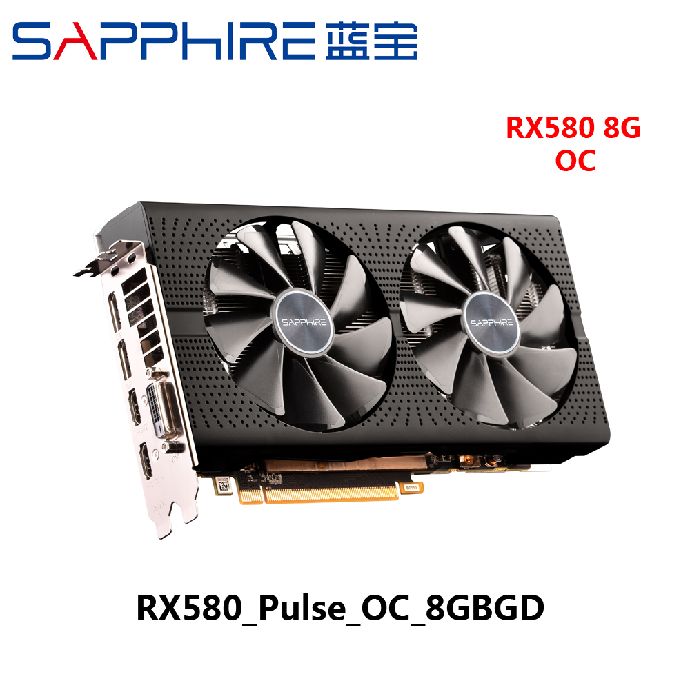 Used Sapphire RX580 8Gb 8g Rx 580 8 gb D5 Platinum OC Game Gaming Desktop Graphics Video Card image