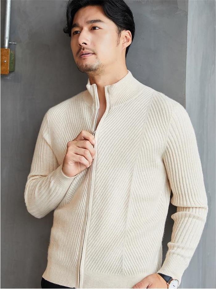 pure cashmere twill striped knit men's smart casual zipper cardigan sweater coat half high collar S-2XL