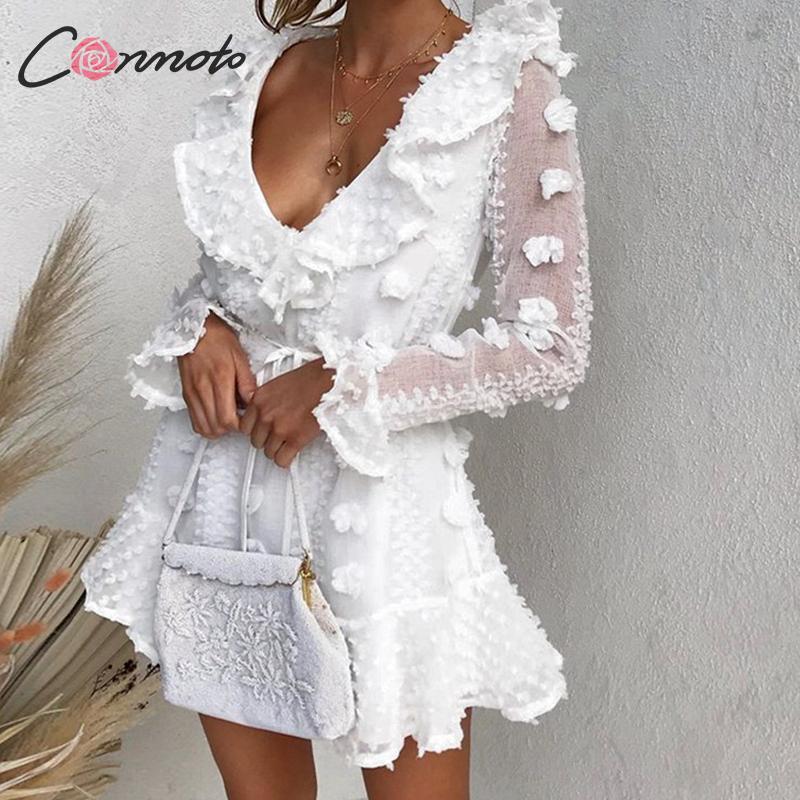 Conmoto Fall 2019 Women White Long Sleeve Short Dress Female Ruffle Flower Embroidery Lace Up Mini Dress Lady Plus Size Vestidos