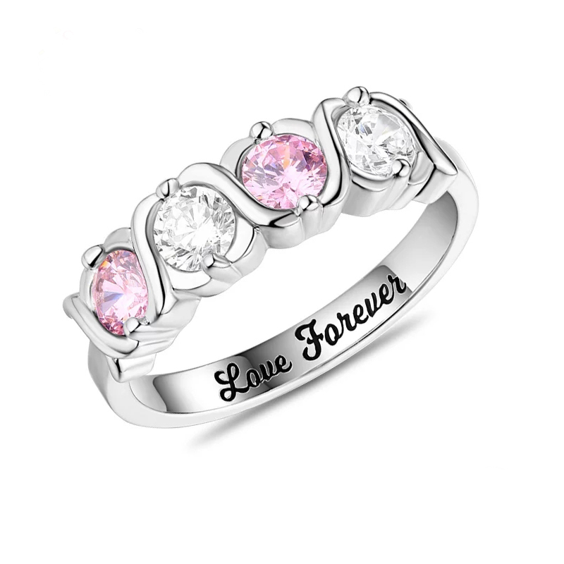 925 sterling silver personalized four birthstones with engraved name ring women fashion jewelry Valentines Day gifts