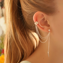 1 Piece Fashion Leaf Design Crystal Stud Earrings Tassel Earrings for Women Star Ear Cuff Jewelry Gold Color Silver Earrings(China)