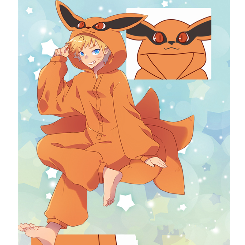 Naruto Uzumaki Naruto Cosplay Costumes Kurama Pajamas Kyuubi Tail Jumpsuits Sleepwear Zipper Flannel Pyjamas Bathrobe
