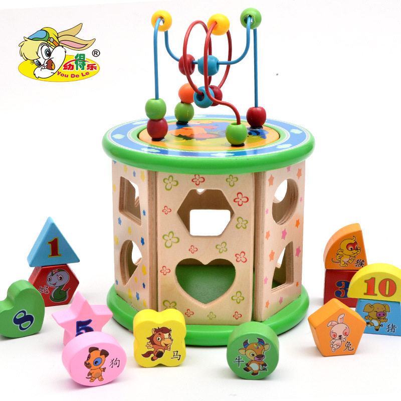 New Style Multi-functional Bead-stringing Toy Box 3-in-One Shape Cognitive Treasure Chest Wood Children'S Educational Toy