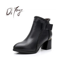 DRFARGO Women Ankle Boots Block High Heel Round Toe Winter Warm Shoes for Gneuine Leather black zip Chaussure 165