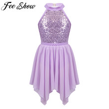FEESHOW Kids Girls Ballet Outfit Sequins Ballet Dance Gymnastics Stage Performance Leotard with Irregular Hem Chiffon Skirt Set(China)