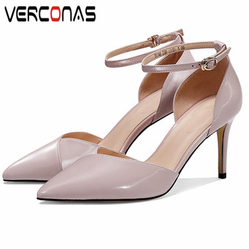VERCONAS 2020  Elegant  Working Shoes Woman Sandals Woman Pumps High Quality Genuine Leather Pointed Toe Thin Heeled Shoes Woman