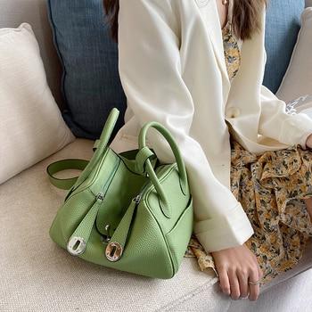 цена на Top Quality~Genuine Leather Women Bag\Handbag 20 Colors Fashion Classical Cowhide Tote Female Embossed Shoulder Bag Doctor Bag