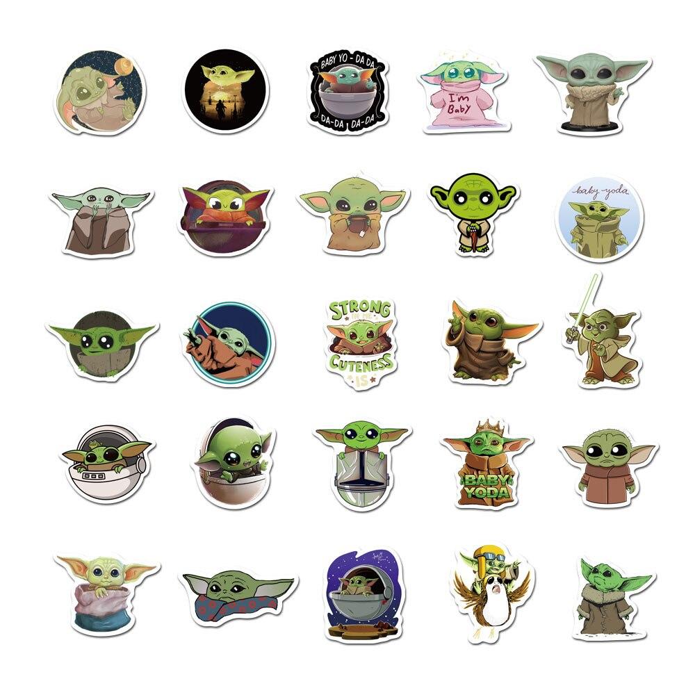 Купить с кэшбэком 50Pcs Sheets into Not Repeat Man Rooster People Baby Yoda Item Yoda Adhesive Paper Draw-bar Luggage Waterproof Stickers TZ019G