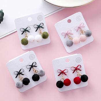 1Pair Fashion Geometric Round Earrings For Women Korean New Velvet Hair Ball Dangle Earrings Female Winter Autumn Drop Earrings image