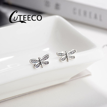 Cuteeco 100% 925 Sterling Silver Prevent Allergy Dragonfly Pan Stud Earrings For Women Girls Fashion Jewelry Pendientes