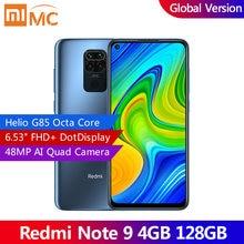 Глобальная версия смартфона Xiaomi Redmi Note 9, 4 Гб, 128 ГБ, Восьмиядерный процессор Helio G85, 48 МП, четырехъядерный, задняя камера 6,53