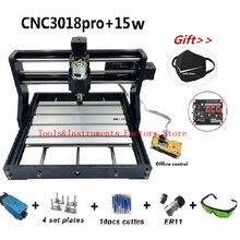 15W CNC3018 פרו חריטת מכונת עם בקרה מחובר 500mw 2500mw 5500mw ראש עץ נתב PCB כרסום מכונה גילוף 3018 פרו