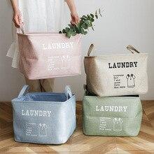Grande EVA algodão linho dobrável caixa de armazenamento roupas cesto roupa suja cesta brinquedo do miúdo