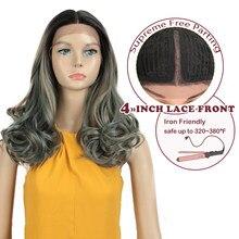 Magic-peluca sintética ondulada de 20 pulgadas para mujer peluca con malla frontal, color verde Rubio, resistente al calor, Natural