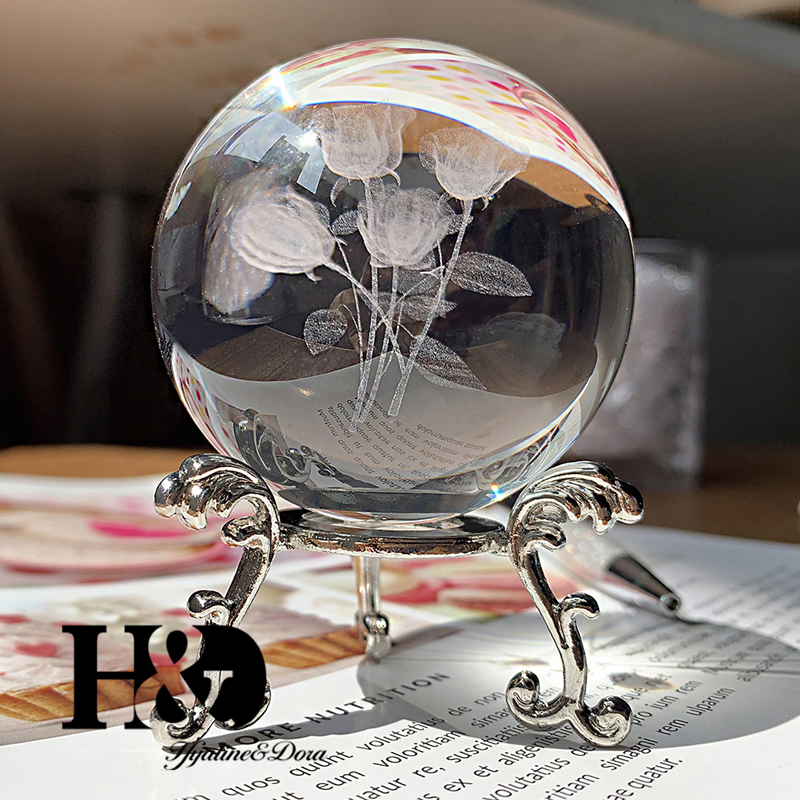 H&D 6cm 3D Laser Engraved Crystal Ball Rose Bouquet Miniature Glass Sphere Home Decor Accessories Ornament Boys Gift with Stand