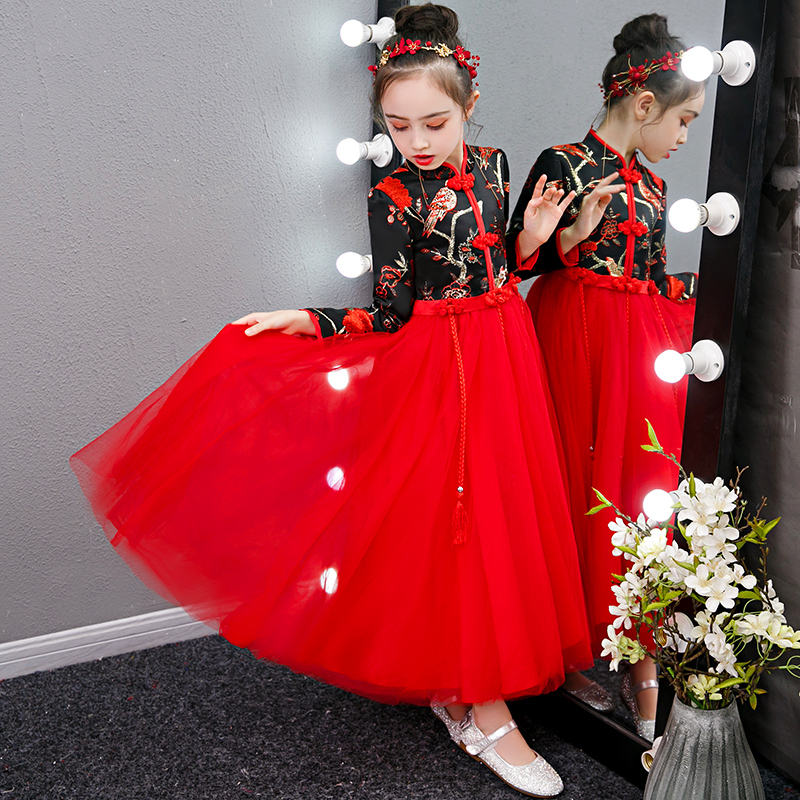 Prom Gown Lace Embroidery Kids Evening Party Dress For Wedding Girl Dresses Black Red New Year Dress Vestido Chines 2020