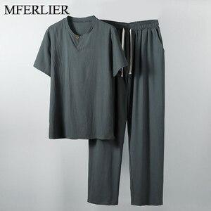 Летняя мужская рубашка 5XL 6XL 7XL 8XL 9XL 10XL размера плюс льняная с брюками большого размера Мужская рубашка 5 цветов