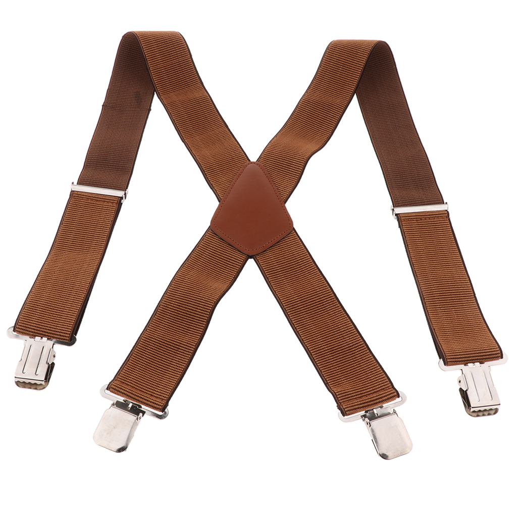 Heavy Duty Clip Suspenders, Mens Adjustable X Back Straps With Non Slip Clips For Work Pants Jeans Trousers