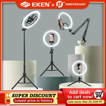 Selfie lampa pierścieniowa fotografia Led krawędzi lampa z uchwyt na telefon wsparcie stojak trójnóg z lampką na żywo streamingu Video tanie i dobre opinie eken CN (pochodzenie) Rohs Bi-color 3200 K-5600 K