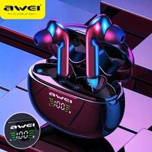 سماعات AWEI T15 TWS بلوتوث 5.0 سماعات لاسلكية تعمل باللمس التحكم الرياضة سماعة أذن براعم للهاتف آيفون 11 شاومي هوكو