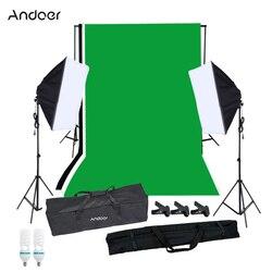 Zestaw oświetlenie fotograficzne Andoer z tło studyjne stojak czarny biały zielony tło 125W żarówki stojak oświetleniowy Softbox|Akcesoria do studia fotograficznego|   -