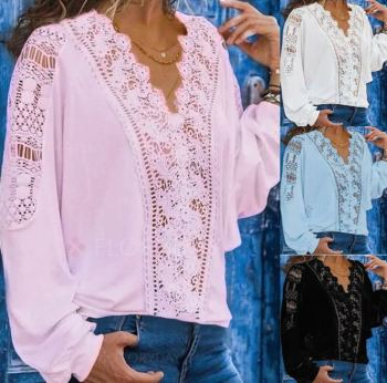 Large size loose lace women blouses 2020 autumn high quality fashion sexy V-neck long sleeve shirts