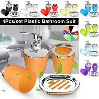 Bad Set 4PCS Seife Dish Dispenser Flasche Waschraum Zahnbürste Halter Tasse Anzug Hause Dekoration Zubehör