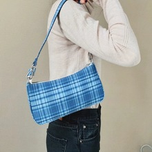 2020 Hot Sale Vintage Retro Bags Designer Ladies Hand Bags French Plaid Blue Bag Woman Elegant Small Bolsa Feminina Shoulder Bag