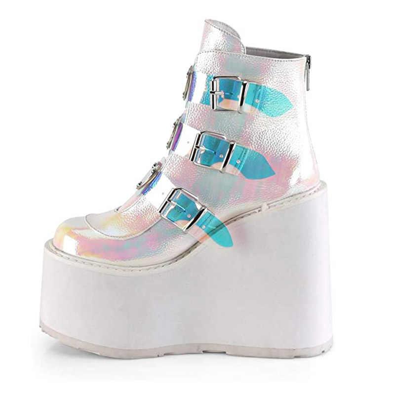 Litthing kış kadın platformu çizmeler moda kalın alt yarım çizmeler takozlar ayakkabı Lace Up toka yarım çizmeler Botas Mujer