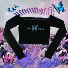 Punk Harajuku Crop Top Long Sleeve Butterfly unif Tumblr Aesthetic Chinese Letter Embroidery Fall Cropped Top Tshirt Dropship black long sleeves rose embroidery pattern cropped top