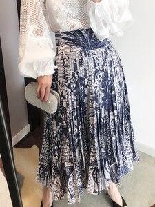 Роскошные Дизайнерские юбки для женщин s 2020 Ранняя весна животный принт джунгли плиссированная юбка Женская высокая талия бальное платье м...