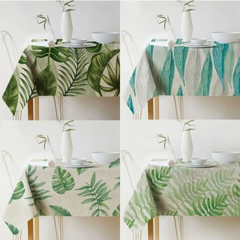 цена на Palm Leaf Rectangular Tablecloth Print Waterproof Tablecloth Linen Polyester Kitchen Dining Table Cover Nordic Decor Tablecloth