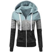 Autumn Classic Hoodies Zipper Sweatshirt Women Long Sleeve Drawstring Pocket Hoodie Casual Female Thin Zip-Up Outwear Top zip up chain print drawstring hoodie