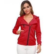 Sweatshirt Women Casual Hoodies Winter Womens Long-sleeved Diagonal Zipper Coat Female Crop Sweatshirts