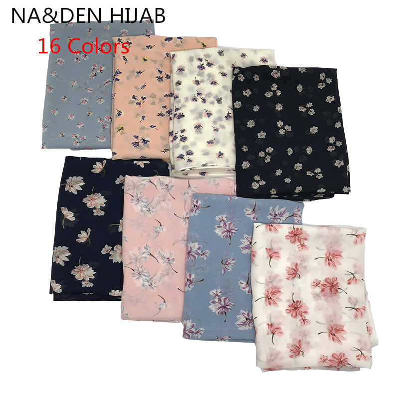 Women Chiffon Scarf Fashion Flower Print Head Scarves Lady Luxury Brand Shawls Women Scarf Foulard Satin Hijab 180*70cm 16 Color