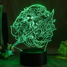 Demon Slayer Acrylic Led Night Light Anime Agatsuma Zenitsu Figure for Kids Child Bedroom Decor Cool Kimetsu No Yaiba Lamp Gift