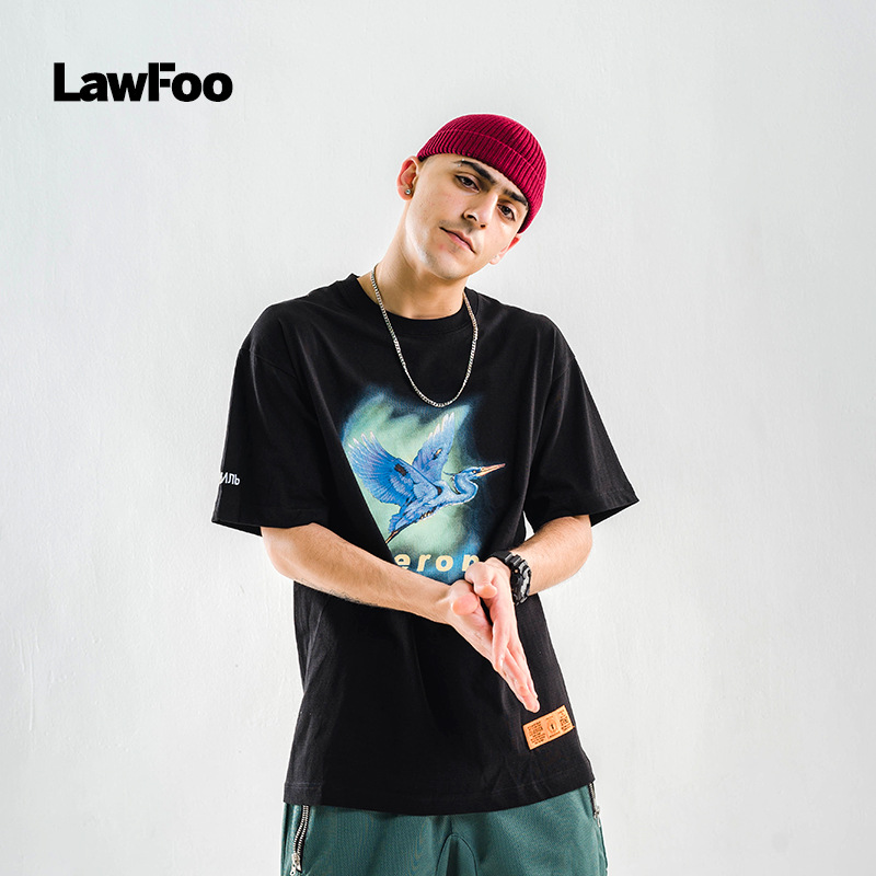 Lawfoo Men'S Wear  Spring And Summer New Style Europe And America Popular Brand Crane Heron Printed Men's Cool Short Sleeve
