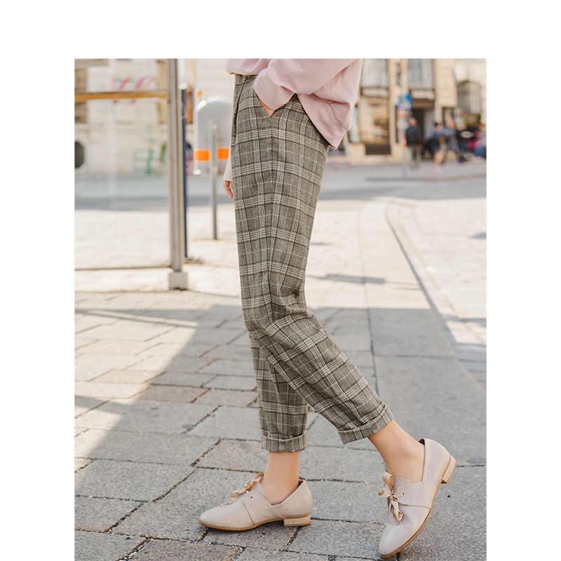 Inman primavera outono retro inglês estilo xadrez magro moda feminina casual lápis calças