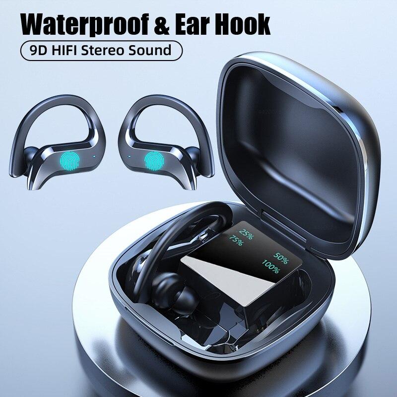 Беспроводные музыкальные наушники Bluetooth 5,0, спортивные наушники-вкладыши, гарнитура громкой связи HD для звонков, подходит для смартфонов ...