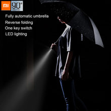 Xiaomi 90Fun Automatische Reverse Opvouwbare Paraplu Mannen Led Lichtgevende Winddicht Business Sterke Paraplu Anti Uv(China)