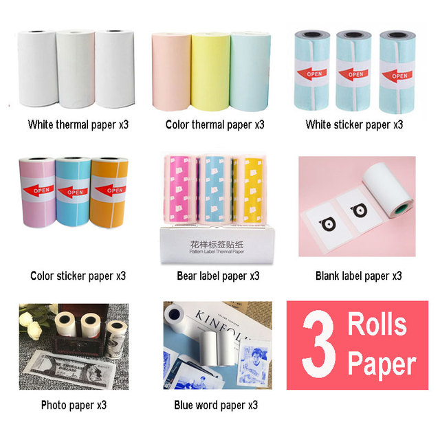 3 Rolls Thermal Paper Label Paper Sticker Paper Photo Paper Color Paper For PeriPage PAPERANG Photo Printer