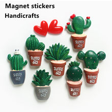 Creative Cactus Plant Refrigerator Magnet, Hand-painted Strong Magnet Refrigerator Magnet, Simple Decoration for Home Kitchen
