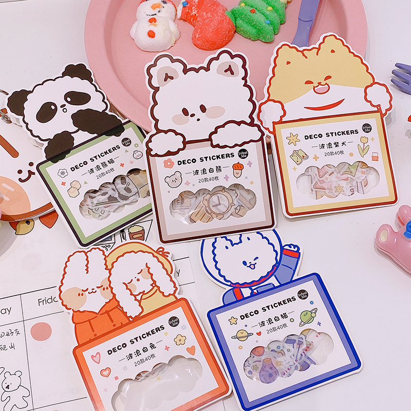 40pcs/pack Cute Bear Decor Stickers Scrapbooking Stick Label Diary Album Stickers Kawaii Korean Stationery Toy Stickers Gift