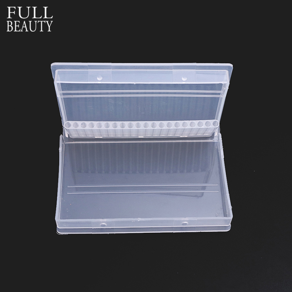 20 Slots Clear Plastic Nail Drill Bit Storage Box Container For Manicure Cutters Empty Display Holder Nail Art Accessories CHA35
