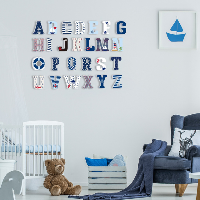 3D PVC Uppercase English Alphabet Letter Stickers Kid's Room Decoration Kindergarten Playground Nursery Decorative Letters 5