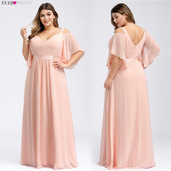 Plus Size Bridesmaid Dresses Ever Pretty EP07871 A-Line Double V-Neck Short Ruffles Sleeve Elegant Wedding Guest Gowns Vestidos pink bridesmaid dresses plus size ever pretty elegant a line v neck short sleeve chiffon long wedding party dress women vestidos